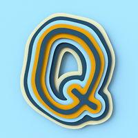 Colorful paper layers font Letter Q 3D