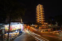 VietNam Quoc Tu Pagoda - Long exposure of Ho Chi Minh city traffic street - Saigon, Vietnam, February 8 2020