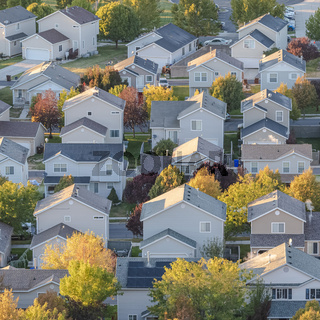 Square Aerial view of a modern housing estate with trees