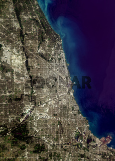 satellite image of Chicago, USA