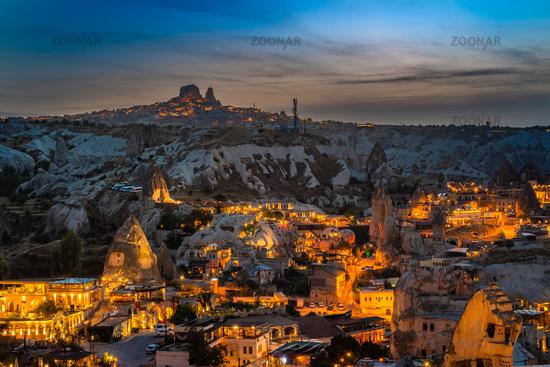 Night view of Goreme in Cappadocia, Turkey.
