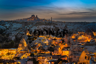 Night view of Goreme in Cappadocia, Turkey.