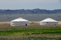 Traditional yurts and montains in Mongolia