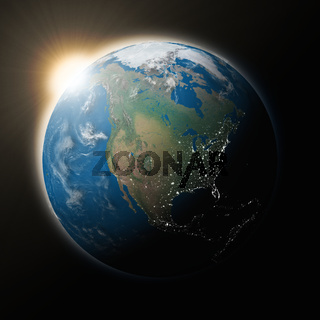 Sun over North America on planet Earth