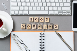 Good morning message with letters on cubes