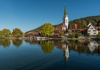 View of Sipplingen with parish church, Lake Constance, Baden-Wuerttemberg, Germany