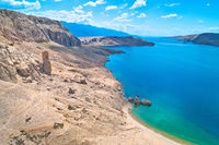 Metajna, island of Pag. Famous Beritnica beach in stone desert amazing scenery
