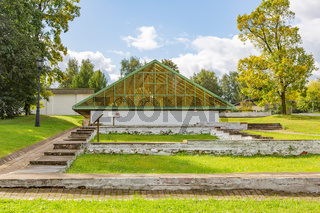 Glass facade of the greenhouse for tropical plants