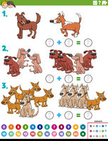 maths addition educational task with dog characters