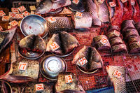 Sliced fish pieces on fish market in HongKong, China
