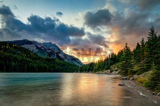 Two Jack Lake in morning sunrise Banff