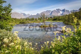Scandinavian landscape island Lyngen Norway