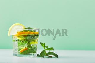 Fresh cool lemon-mint water, cocktail, detox drink.