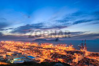 modern seaport with evening sunset