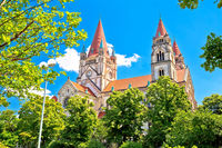 Vienna. Franz von Assisi church in green landscape of Vienna view