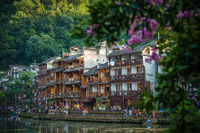 Old historic wooden Diaojiao houses in Fenghuang