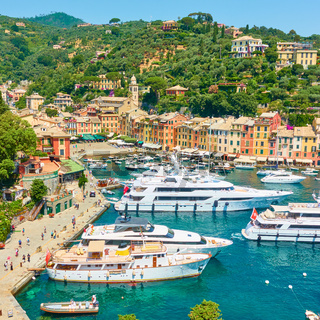 Harbour with yachts and boats in Portofino