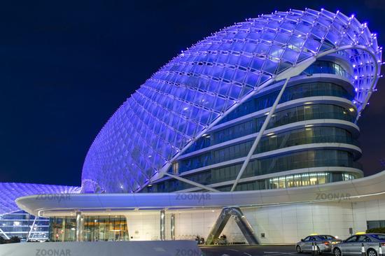 Abu Dhabi. United Arab Emirates. Yas Marina Viceroy Hotel at dusk
