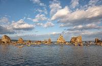 Hashigui-iwa (Bridge Pillar Rocks) at the Kushimoto. Wakayama prefecture. Honshu. Japan