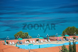 A view of the beautiful sea with swimming pool