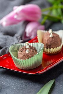Truffle mini cakes 'Potato' - a traditional Russian dessert.