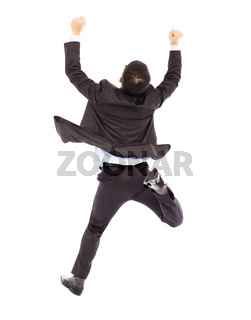excited businessman raising hands while running happily