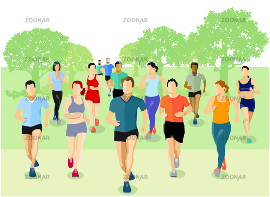 a group of athletes are running in the park