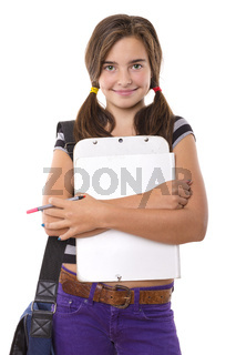 teenage girl with clipboard and pencil smiling, isolated on white