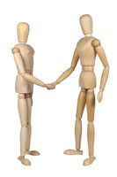 wooden puppets shaking hands