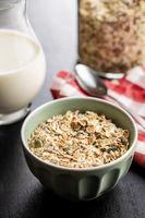 Muesli cereals. Healthy breakfast with oats flakes.