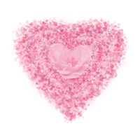 Heart made of pink rose petals on white background.