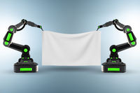 Blank poster supported by robotic arms
