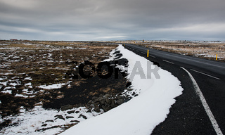 Rural empty  road in  Iceland