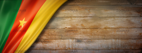 Cameroon flag on vintage wood wall banner
