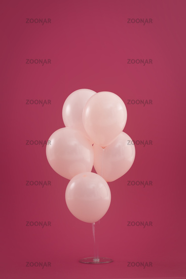 Bunch of five pale pink balloons floating on dark red background