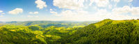 180 degrees scenic panoramic landscape of nature in Carpathians, Ukraine. Beautiful mountains