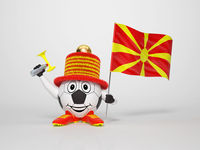 Soccer character fan supporting Macedonia