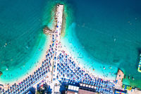 Aerial view of Poli Mora turquoise sand beach in Selce