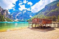 Braies lake in Dolomite Apls idyllic landscape view