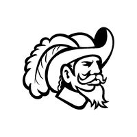 Head of a Cavalier or Musketeer Viewed from Side Mascot Black and White