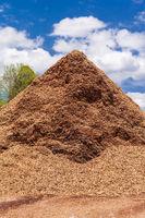 mountain of shredded wood waste