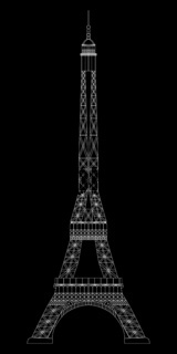 Eiffel Tower isolated on black background. Real scale image