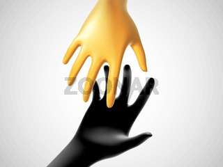 Two 3D human hands taking each other on white background.