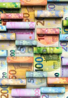 Viele aufgerollte Euro-Banknoten