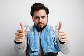 Bearded man after shaving in the morning. Isolated over white background.