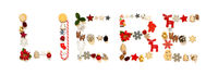 Colorful Christmas Decoration Letter Building Liebe Means Love