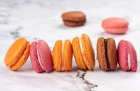 baked macarons on a white table