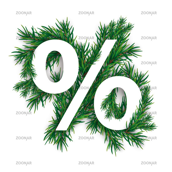 Christmas White Percent Green Twigs