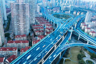 blue elevated road junction