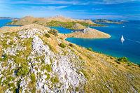 Kornati archipelago national park. Amazing stone desert scenery on Kornati islands and blue Adriatic sea